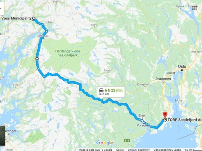 mapa trasy oslo torp-voss