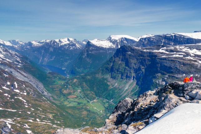 vyhlídka na Geiranger fjord z hory Dalsnibba